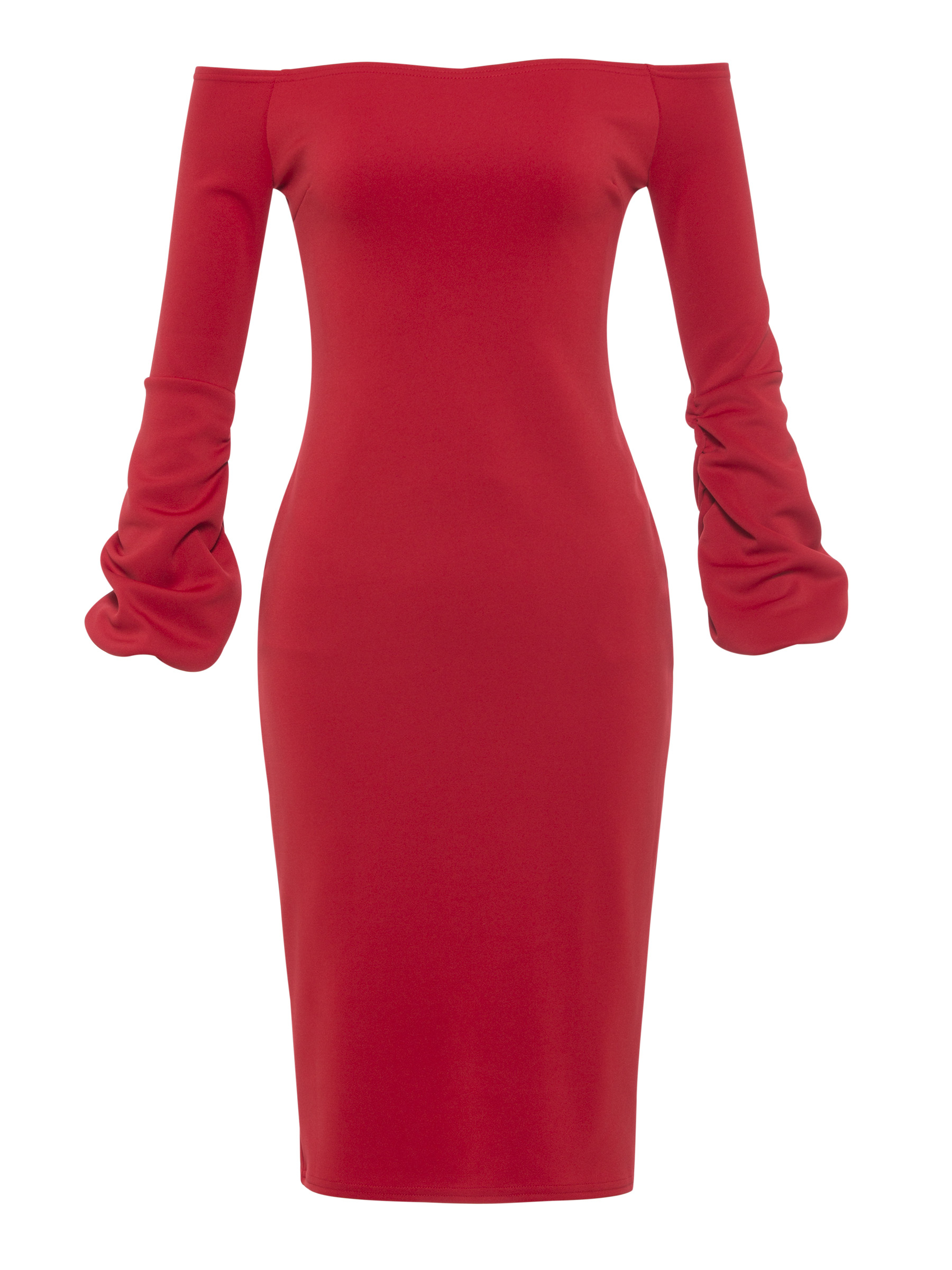 Red Cocktail Dress Off The Shoulder Long Sleeves Sheath Knee Length Women Night Club Evening Party Gowns Cocktail Dresses