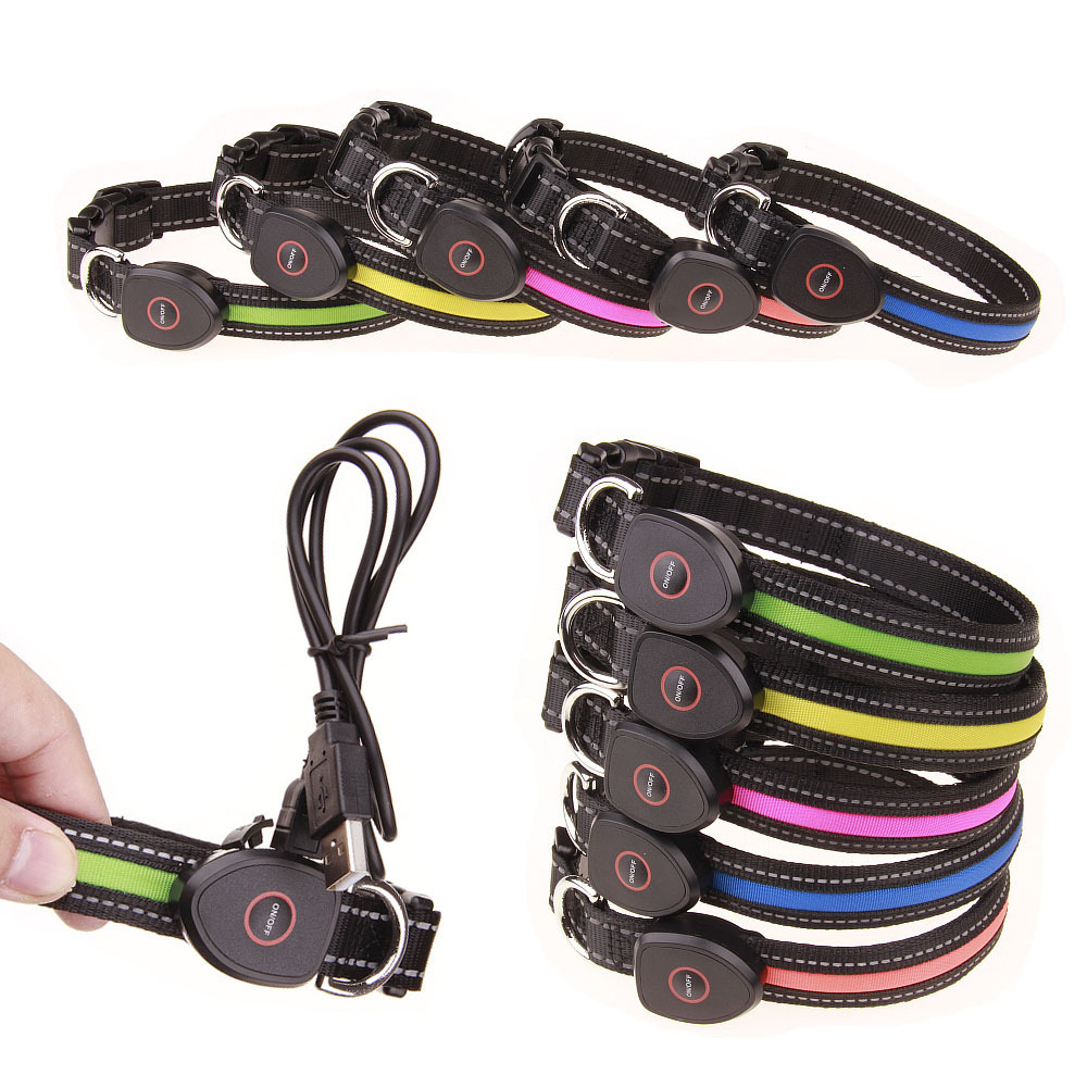 USB Peach Shaped Charging LED Luminous Dog Collar Chargeable Recycled Pet Collar Send USB Cable