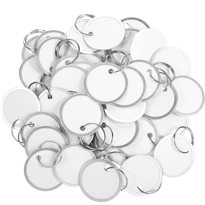 Metal Rim Tags Key Tags Round Paper Tags With Metal Rings White Label For Car Keys And Door Keys (100)