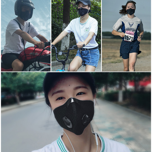 ROCKBROS Cycling Face Mask Dust Mask Bike Active Carbon With Filter Mask Breathing Valve Anti-Pollution Protective Sports Mask 5