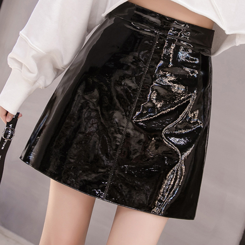 QRWR 2021 Spring Summer Women Skirt High Waist Solid Color Mini Skirts Straight PU Leather Shiny Club Cute Sexy Skirts for Women 3