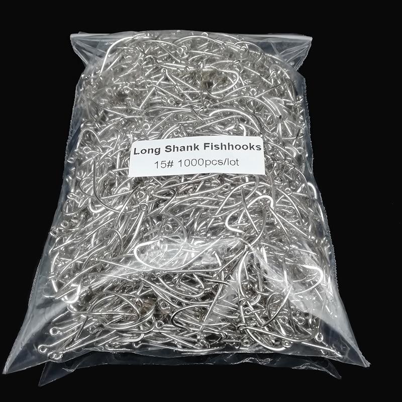 1000 Pcs/lot Fishhooks Wholesale By Bulk Long Shank Handle Circle Barbed Hooks Ious Crucian Carp Fishing Strips Jig Head Pesca