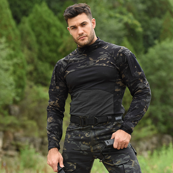 HAN WILD Men's Outdoor Hunting Tactical Shirts Air Soft Combat Tee Shirts Breathable Army Military Shirts Gray Hunting T-shirt 4