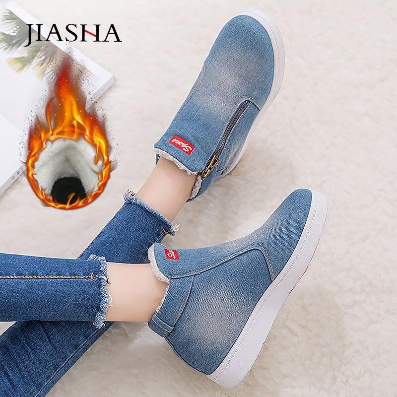 Denim Winter Shoes Woman 2019 New Women Sneakers Side Zipper Plush Platform Warm Winter Canvas Shoes Tenis Feminino Plus Size