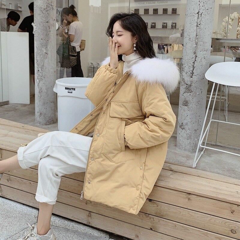 White Duck Down Jacket Women Embroidery Raccoon Fur Collar Down Coat Puffer Jacket Winter Coat Women Casaco 8205 YY1224
