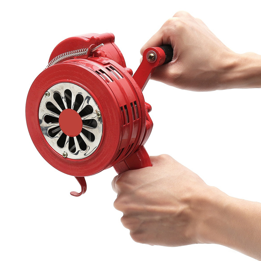 Hand Operated Crank Air Raid Safety Siren Fire Emergency Alarm Aluminum Alloy 231X202X115mm OUJ99