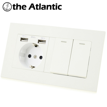 Atlectric DE EU RU Plug Socket 1 2 3 4 Gang 1 2 Way Button Light Switch Dual USB Port Plastic Panel Double Socket 146mm free shipping 4v230c 06 double coil 1 8 bsp 24v dc 5 3 way 5 port with plug led light