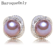 BaroqueOnly 100% Genuine Freshwater Pearl zircon surround purple 925 sterling Silver Stud Earrings Fashion Jewelry for Women EBH(China)