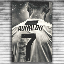 Estrela do esporte de futebol cristiano ronaldo retro pintura da lona posters impressões arte da parede imagem para sala estar decoração casa cuadros