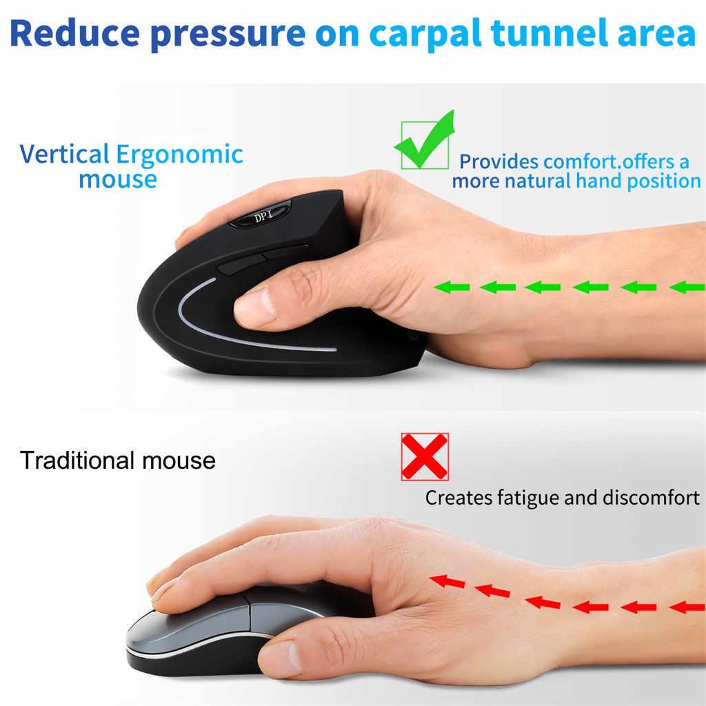 Ratón inalámbrico Bluetooth Vertical ergonómico ratón inalámbrico ingeniería inalámbrica 1600 PPP ratón óptico silencioso Souris Sans Fil # LR4