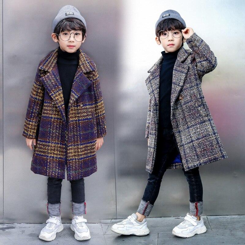 Winter Jackets Boys Solid Woolen Double-breasted Baby Boy Trench Coat Lapel 3 4 5 6 7 Y Kids Outerwear Coats For Boy Windbreaker