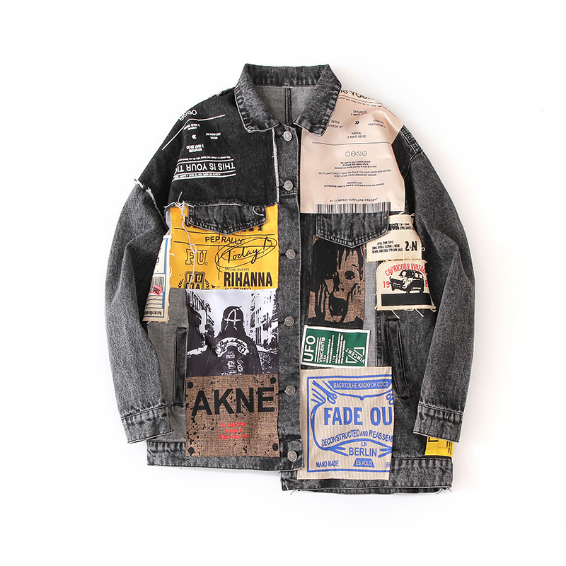 LANMREM Can Ship Tide Loose Denim Coat Woman 2020 Spring Fashion New Popular Printing Personality All-match Hip Hop Jacket YJ003