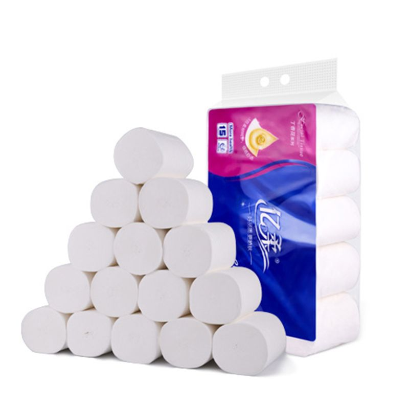 15 Rolls Paper Home Household 3 Layers Bath No Core Soft Toilet Paper