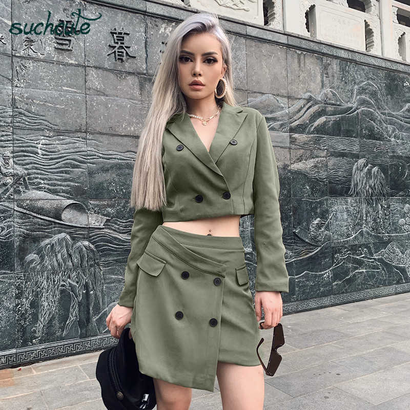 SUCHCUTE Women's Suit With A Skirt Office Wear Green Casual High Waist Skirts Korean Style Ropa Oficina Mujer Mantelpakje Blazer