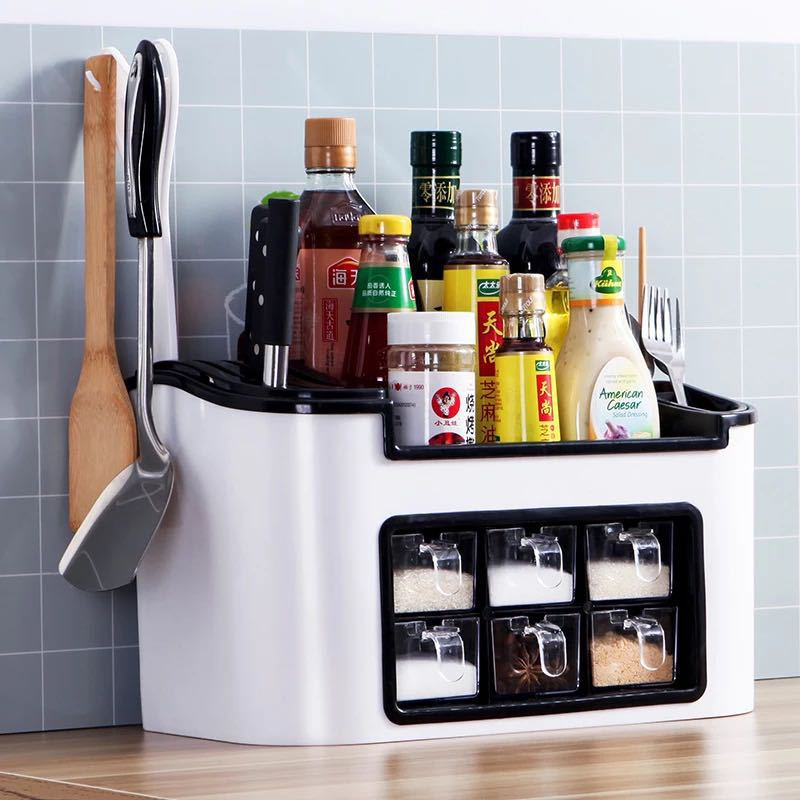 Multifunctional Kitchen Seasoning Box Spice Jar Container Spice Rack Organizer Kitchen Supplies Rack Knife Storage Shelf