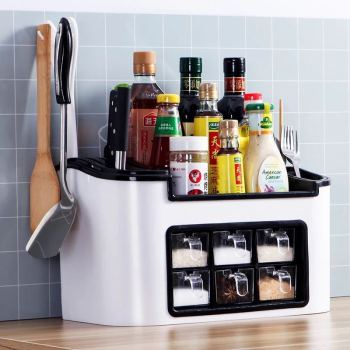 Multifunctional Kitchen Seasoning Box Spice Jar Container Rack Organizer supplies Knife Storage Shelf