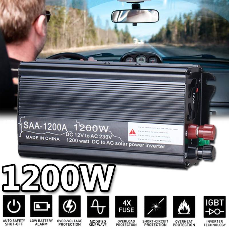 Dual USB 1200 Watts Power Inverter DC 12 V To AC 220 Volt Car Adapter Charge Converter Modified Sine Wave Transformer