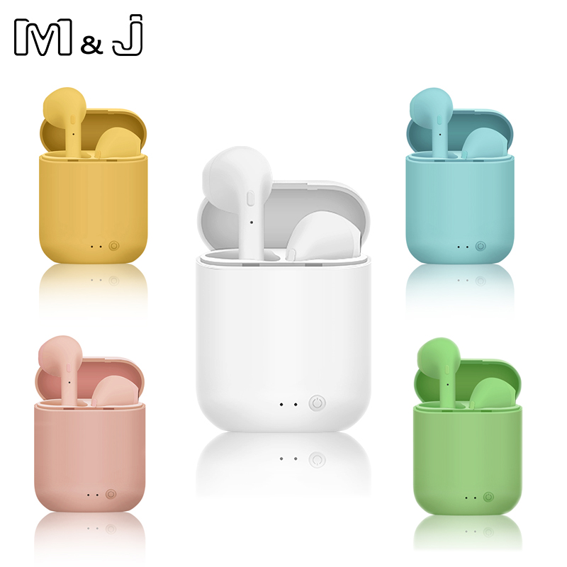M&J <font><b>Mini</b></font> 2 <font><b>Tws</b></font> Matte Headphone <font><b>Wireless</b></font> <font><b>Bluetooth</b></font> <font><b>5.0</b></font> <font><b>Earphone</b></font> <font><b>Mini</b></font> Earbuds With Mic Charging Box Sport Headset For <font><b>Smart</b></font> Phone image