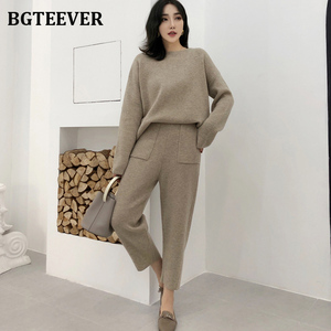Casual Sweater Tracksuit O-neck Pullovers & High Waist Pants Women Sweater Sets Knitted Set Autumn Winter Knitted 2 Pieces Set(China)