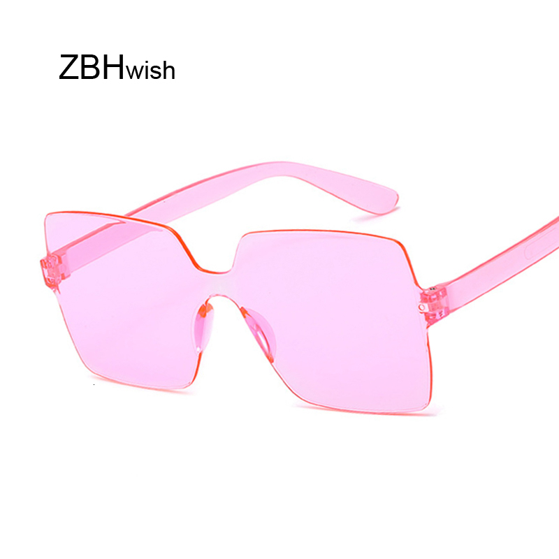 Fashion Rimless Square Sunglasses Women Brand New Shades Sun Glasses Female Pink Oculos De Sol Feminino