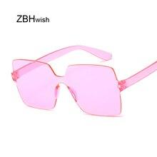 Fashion Rimless Square Sunglasses Women Brand New Shades Sun