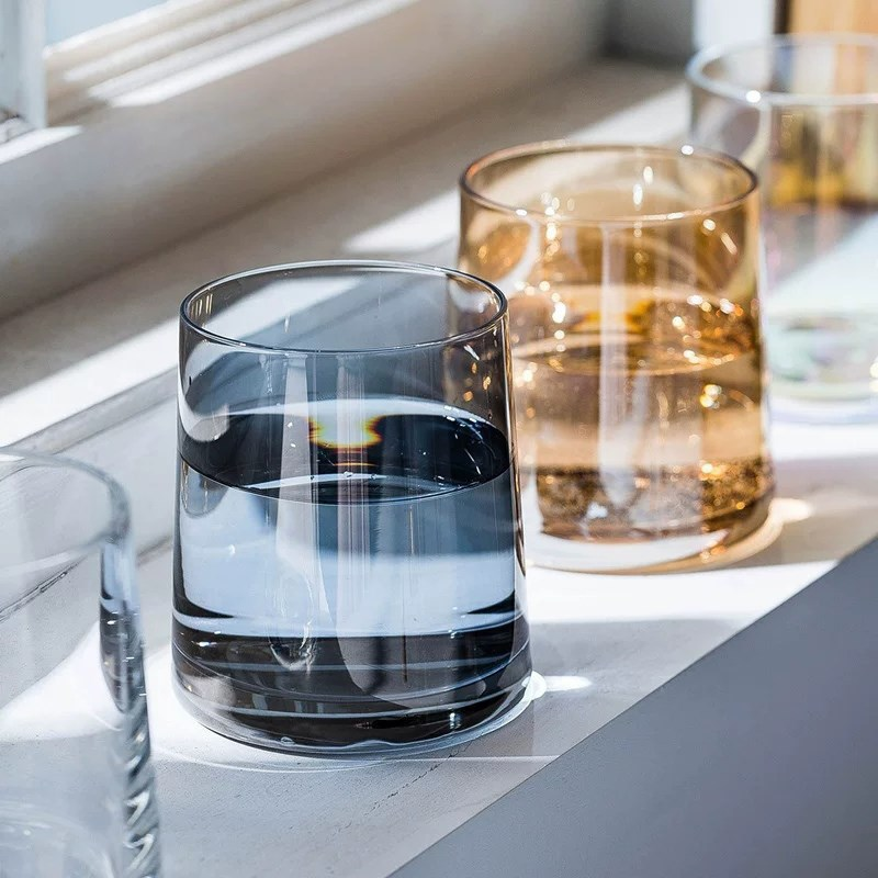 Creative Whiskey Glass With Lead-free Rainbow Amber Gray Transparent Color Water Drinking Glasses Cup For Vodka Bar Kitchen
