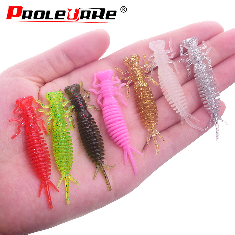 10Pcs/lot Jigging Wobblers Fishing Lure 55mm 1.2g Luminous Worms Soft Bait Aritificial Silicone Lures Salt Smell Bass Pike