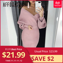 Affogatoo Sexy v neck women knitted pink dress Elegant Two piece batwing sleeve sweater party dress ladies bodycon midi dresses
