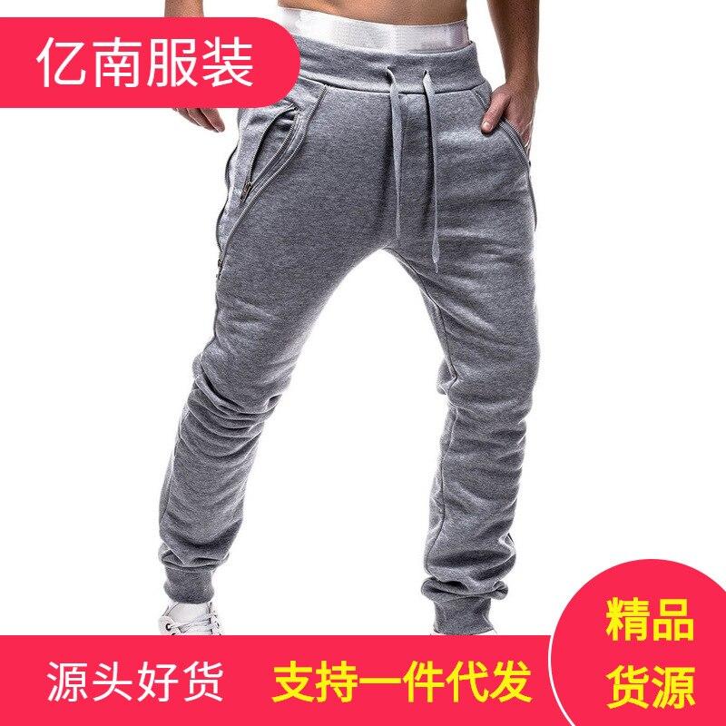 Trend Zipper MEN'S Sports Trousers Drawstring Men Skinny Closing Fashion Athletic Pants