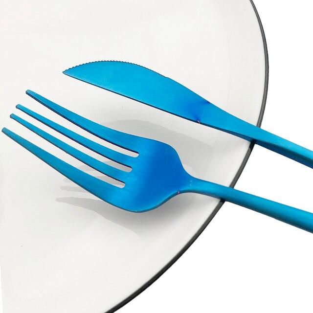 Juego de cubiertos de oro mate de 36 Uds 304, vajilla de acero inoxidable para postre, tenedor, cuchara, juego de platería, vajilla de cocina