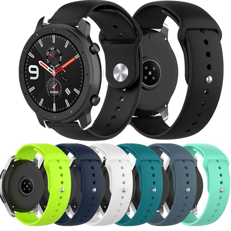 Silicone Watch Strap For Xiaomi Huami Amazfit GTR 47MM 42MM Smart Sports Bracelet Replaceable 22MM Band For Amazfit Stratos 2