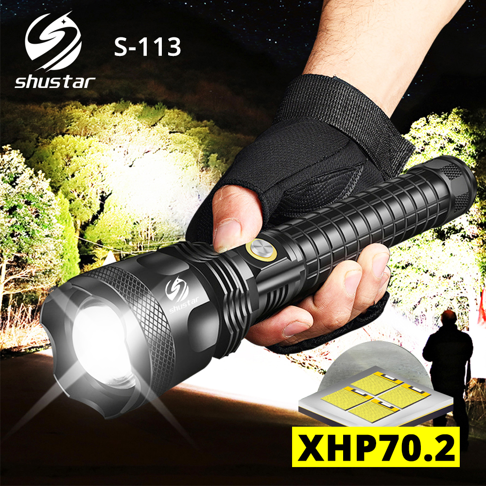 S113 Powerful LED Flashlight With XHP70.2 Lamp Beads Tactical Waterproof LED Torch Telescopic Zoom 3 Lighting Modes By 26650