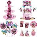 Куклы LOL с сюрпризом на день рождения, тематические украшения «сделай сам», праздничная тарелка, ложка, свадебный торт, Топпер, детские подар...