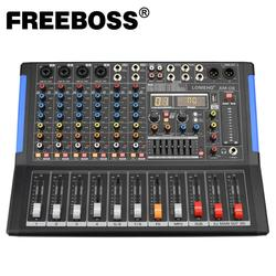 LOMOEHO AM-08 4 Mono + 2 Stereo 8 Channels Bluetooth USB Interface Computer Record 48V Phantom Professional  DJ Audio Mixer