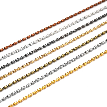 2M/lot 1.5mm Gold Bulk Copper Cylindrical Bead Chain Bamboo Chains For DIY Necklace Bracelet Jewelry Making Supplies