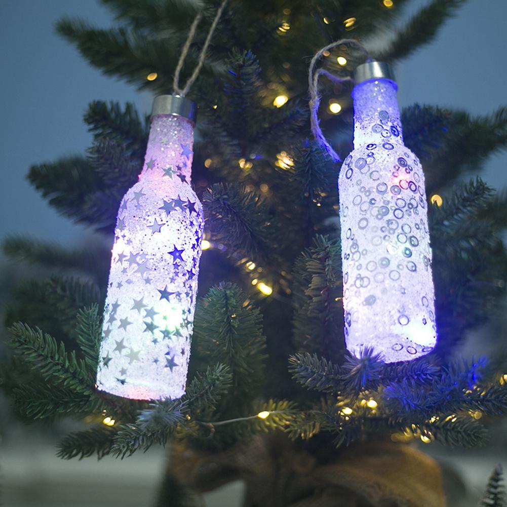 HiMISS рождественские украшения с светильник s светящиеся маленькие, на бутылки с вином Рождественская елка украшения кулон Рождественский
