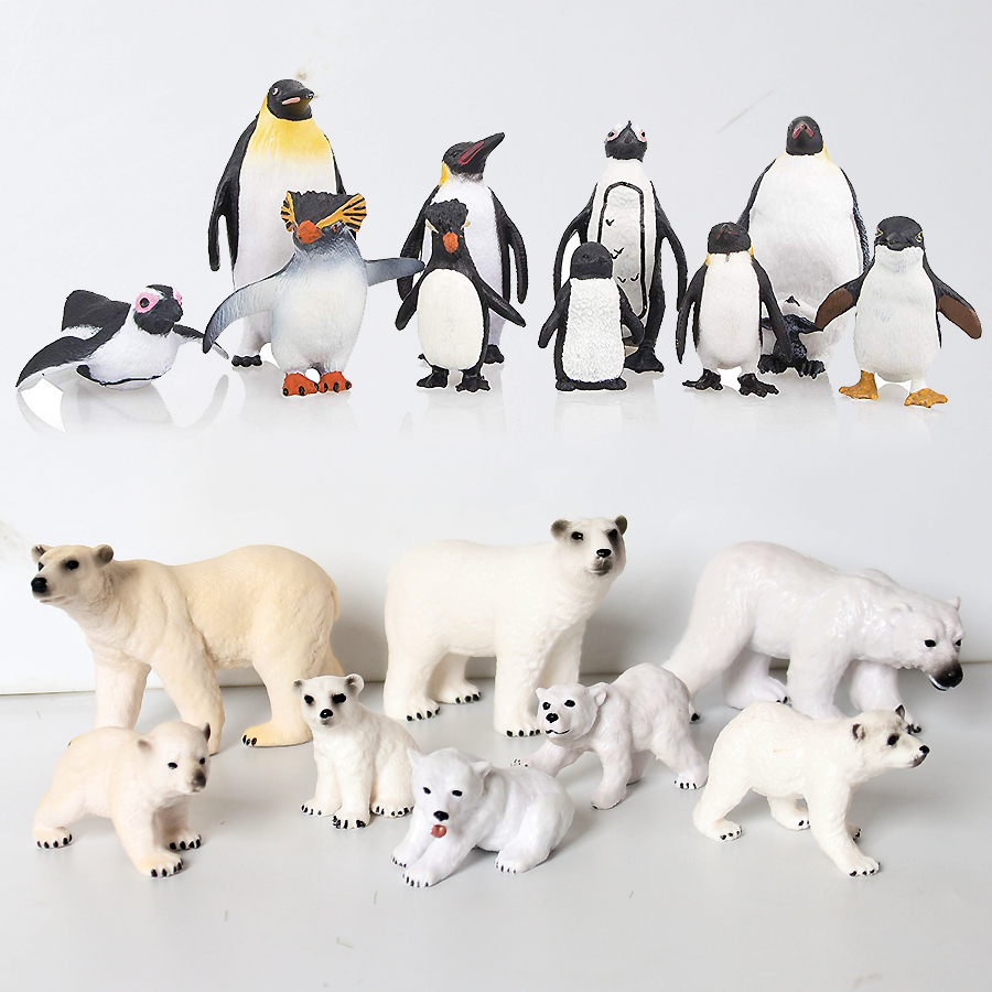 Realistic Polar Animal Toy Figurines Set,Includes Polar Bear,Varieties of Emperor Penguin Family Educational Figures for Kids