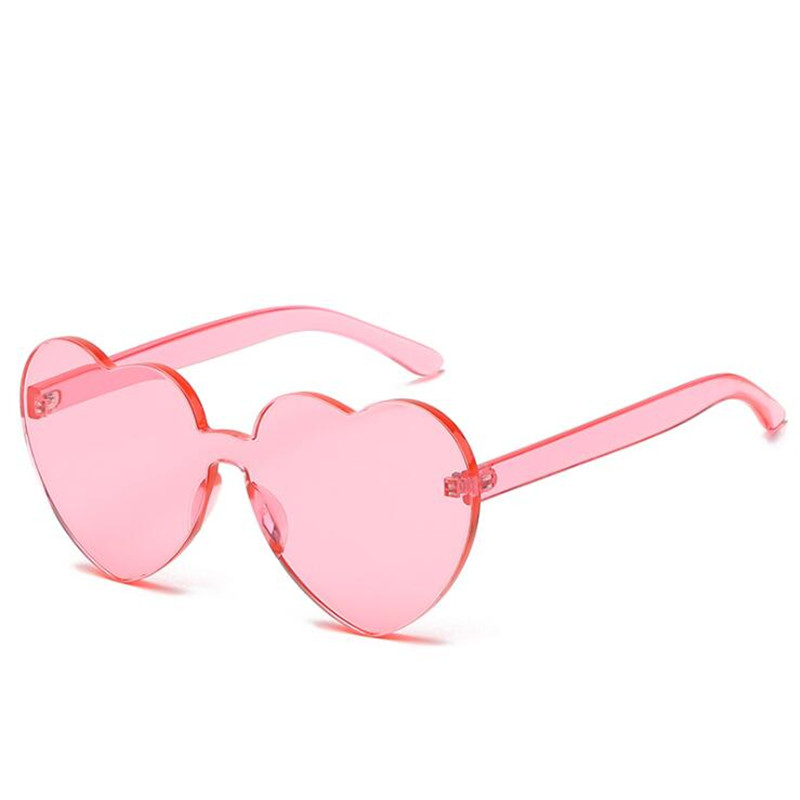 FOENIXSONG Rimless Eyewear Heart Pink Sunglasses For Women Men  Brand New Designer Female Sun Glasses UV400 Oculos De Sol