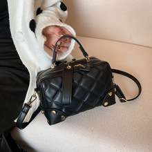 Women's Bag Square-Bag Small One-Shoulder Korean-Fashion Lingge Embroidery Simple-Net