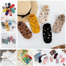 5 pares/lote mulheres leopardo primavera sésamo rua bonito tornozelo meias bonito engraçado lábios imprimir barco curto sox invisível senhora menina verão