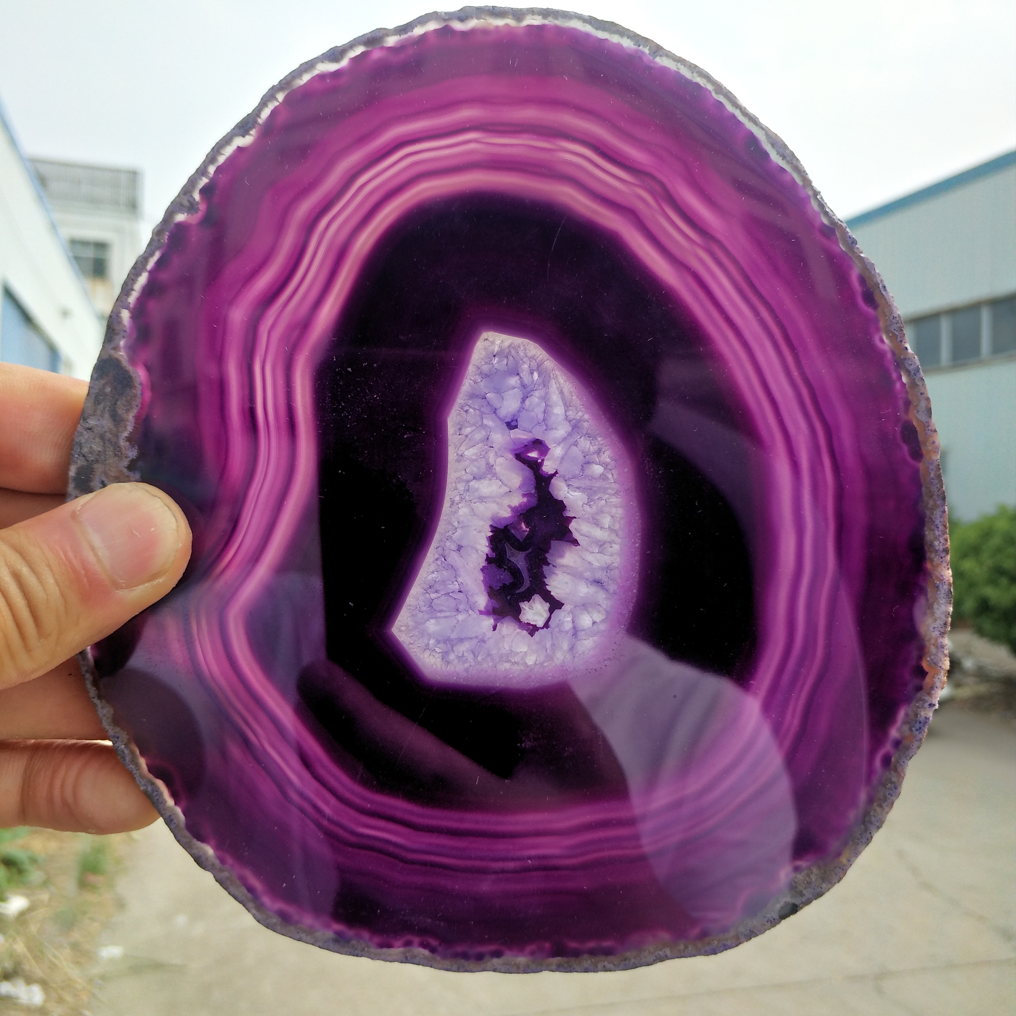 Natural Agate Slices Coaster Polished Purple Agate Slice+stents 120-140MM
