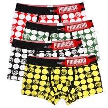 מגניב 4pcs \ הרבה ורוד גיבורי כותנה תחתוני גברים בוקסר אופנה עיצוב מעגל הדפסת גברים תחתונים לנשימה זכר תחתונים