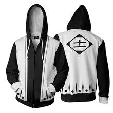 Men and Women Anime Zip Up Hoodies Bleach Hoodie Zaraki Kenpachi 3d Hooded Sweatshirt Cosplay Costumes Harajuku Streetwear