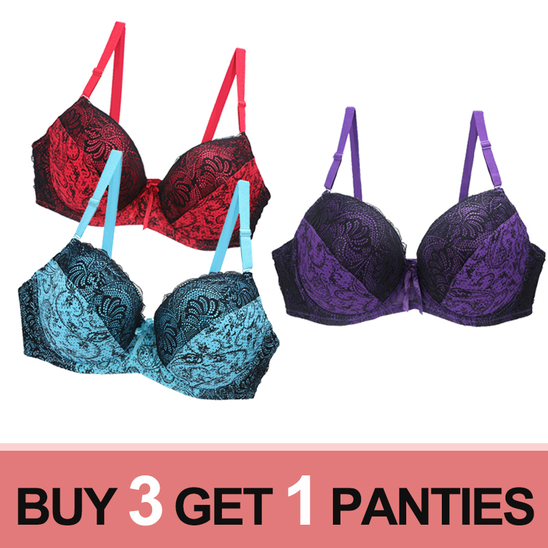 3pcs/lot large size <font><b>Bras</b></font> For Women <font><b>Push</b></font> <font><b>Up</b></font> <font><b>Bra</b></font> <font><b>Lace</b></font> Brassiere Lingerie Bralette Ultra-thin Large <font><b>Cup</b></font> <font><b>D</b></font> E F Underwire Underwear image