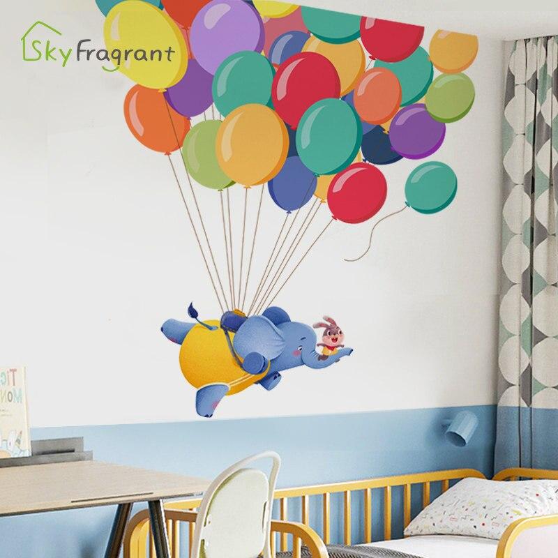 Criativo dos desenhos animados adesivo de parede crianças decoração do quarto voando elefante auto-adesivo adesivos de parede quarto decoração da sala