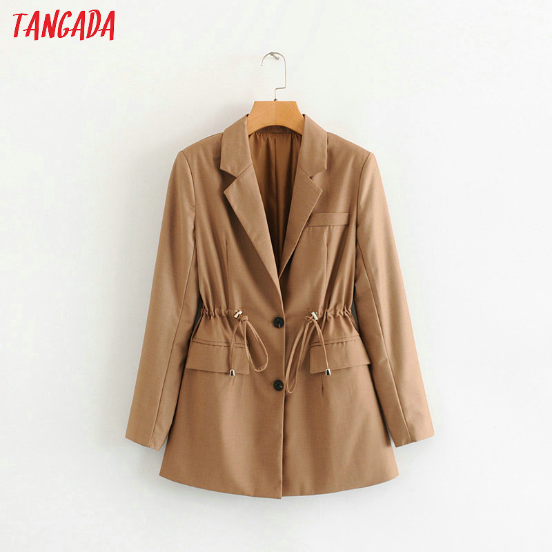 Tangada Women Solid Blazer Elegant Elastic Waist Sashes Long Blazer 2019 Jacket Office Ladies Blazer Feminino Formal Suits 1F111