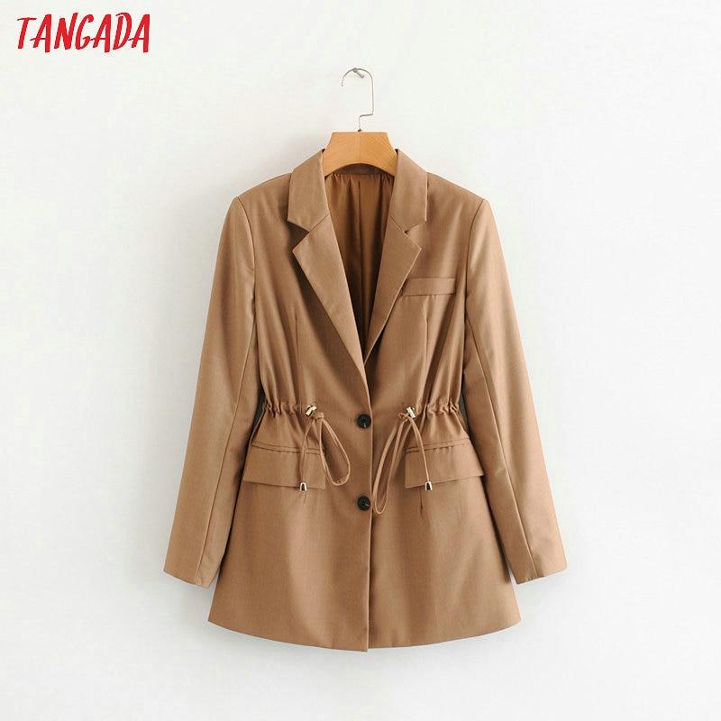 Tangada Women Solid Blazer Elegant Elastic Waist Sashes Long Blazer 2019 Jacket Office Ladies Blazer Feminino Formal Suits 1F111