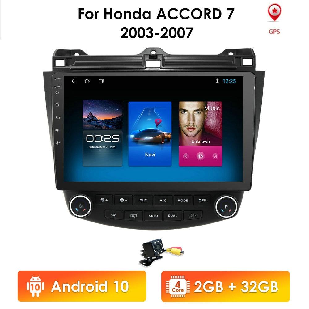 2G 64G Android 10 автомобильный радиоприемник GPS-навигация для Honda ACCORD 7 2003 2004 2005 2006 2007 Multimidia SWC FM CAM-IN USB DAB + DTV