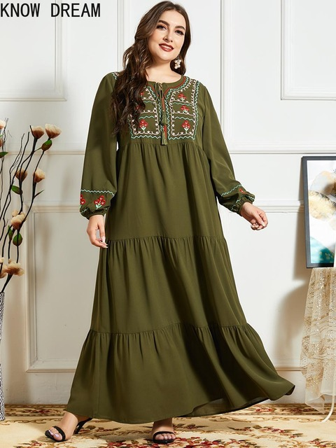 KNOW DREAM Women Fashion Comfortable Blue Embroidered Long Sleeve Multilayer Fold Army Green Dress Arab Robe 1