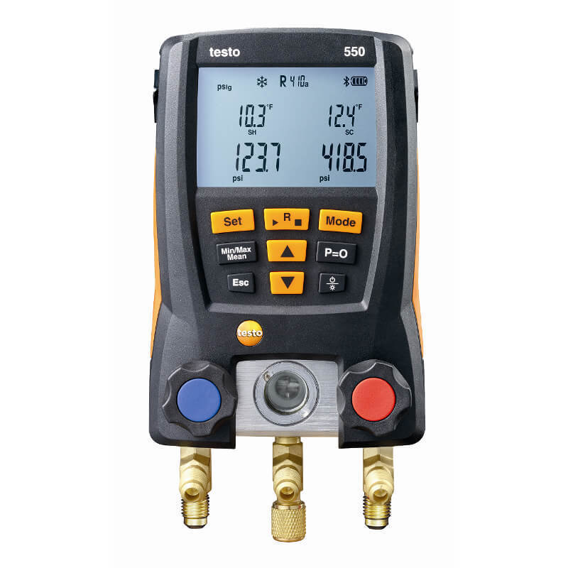 Domestica Testo 550 Refrigeration Gauge Manifold Digital With Hoses Clamp Refrigerant Meter Set Probes 0563 1550 Manometro